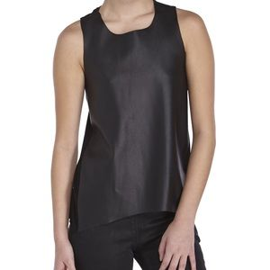 Olivaceous Women's Black Faux Leather Front Top